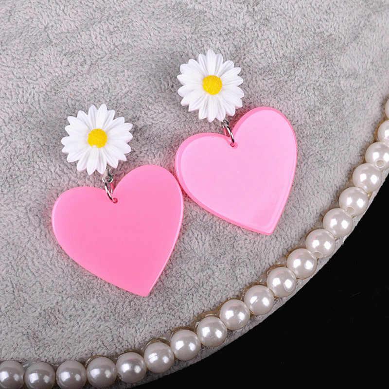 Moda acrílica oco coração em forma de senhora doce assimétrico vermelho brincos para mulheres/meninas festa bonito elegante brincos