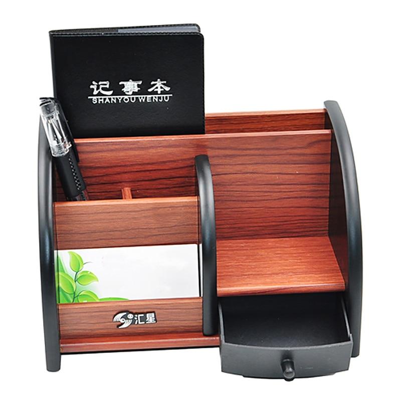 Wooden Multifunctional Desktop Stationery Storage Box Pen Pencil Box Jewelry Makeup Holder Case Organizer Storage