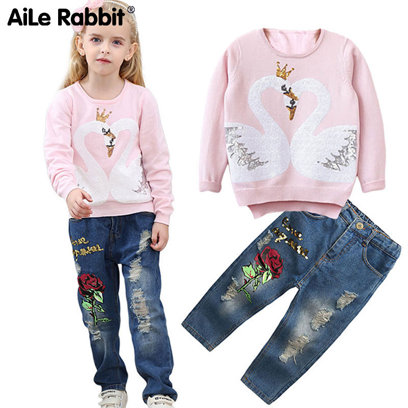 33dcdb6d16ba Detail Feedback Questions about AiLe Rabbit New Girl s Clothes Suit ...