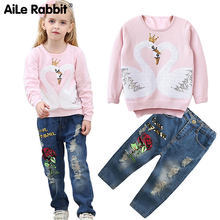 AiLe Rabbit New Girl's Clothes Suit Shirt Pants Sequins Swan Pattern Hole Roses Jeans Fashion Exclusive Children's Tops k1(China)