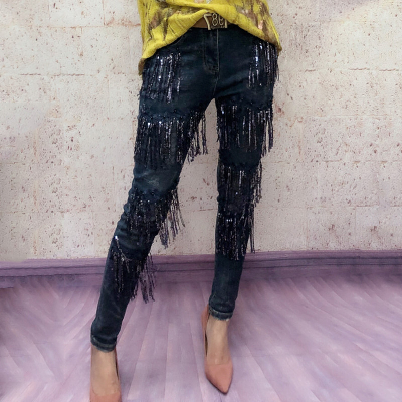 Stretch Skinny Jeans Femme Elastic Denim Jeans Woman Pencil Pants Skinny Long Pant With Sequined Tassel Slim Casual Trousers-in Jeans from Women's Clothing    2