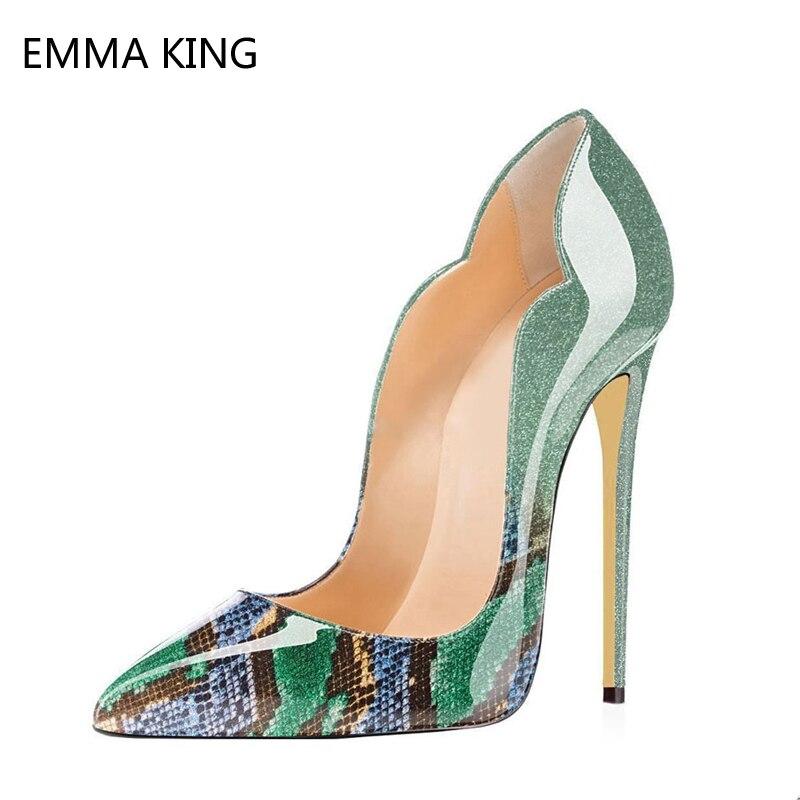 Bleu Femme Habillées 10 Chaussures En Cuir Soirée Femmes Picture Stiletto De Talons As Hauts 12 as Cm Bout Picture Pointu Dames Serpent Motif Verni HHrCqwx4