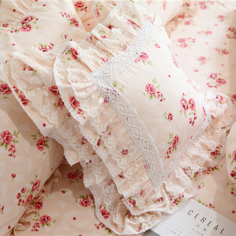 Pink Floral Print European Cushion Cover Pillowcase Ruffled Design Shabby Chic