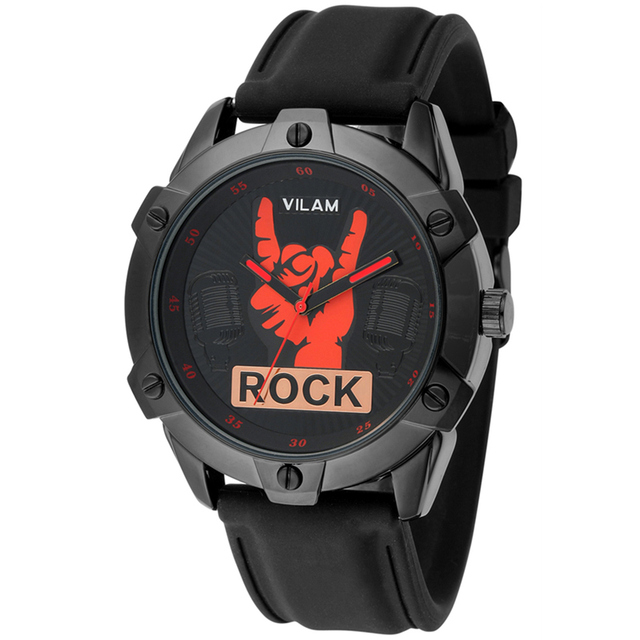 2016 Brand New Cool Rock Man Fingers Model Design Fashion Trends Quality Rubber Band Japan Quartz Black Watch relogio masculino