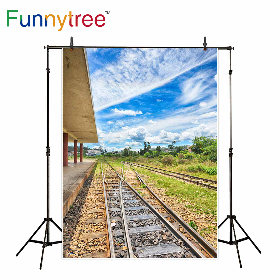 Funnytree photography backdrop railway blue sky travel natural scenery tree background photocall photobooth photographic