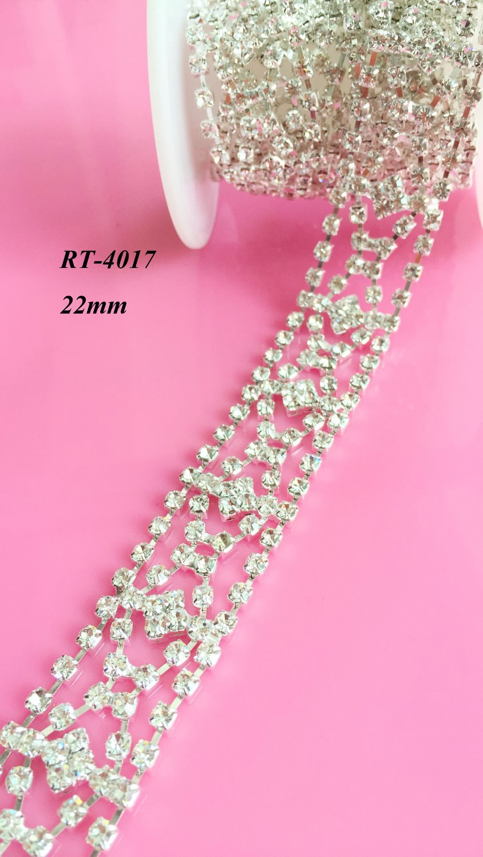 Doprava zdarma 1yard DIY křišťálový lem pro svatební výstřih krajkové křídlo svatební křídlo (RT-4017)