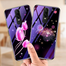 Luxury Glass Case For Oneplus 6 Deer Tulip Flower Cover oneplus Coque Plating TPU Glitter Blue-ray Star Space