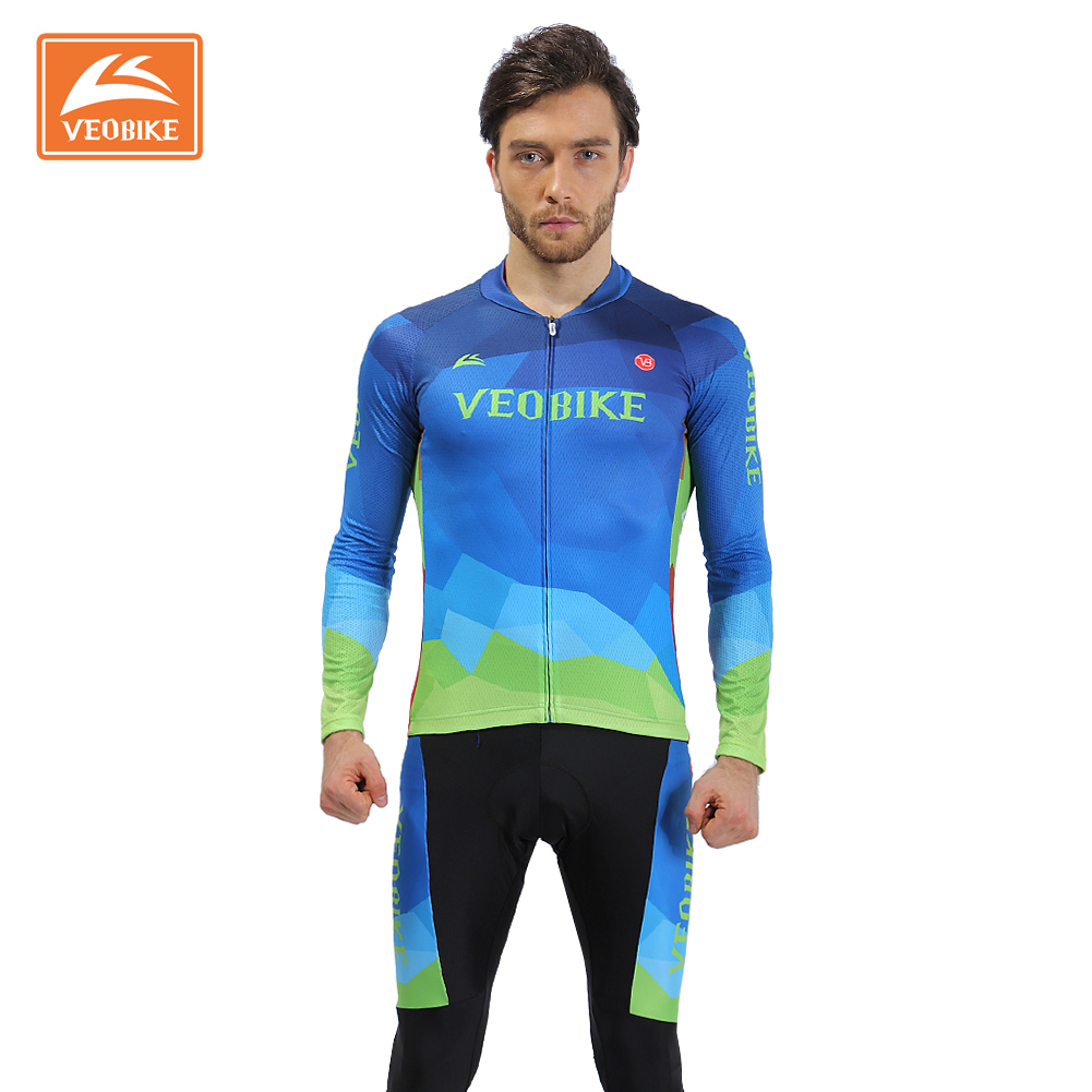 VEOBIKE Professional Autumn Bike Clothing Pro Cycling jerseys Maillot Ropa Ciclismo MTB Jersey Sets With 4D Gel Padded Pants polyester summer breathable cycling jerseys pro team italia short sleeve bike clothing mtb ropa ciclismo bicycle maillot gel pad
