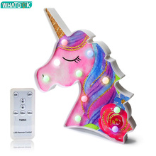 Unicorn 3D LED Night Lights Unicornio Table Lamp Novelty Animal Party Desk Lamp Luminaria Baby Kids Toy Birthday Gift Home Decor cute unicorn horse animal 3d led 7 colorful wood lamp as lights for kids gift