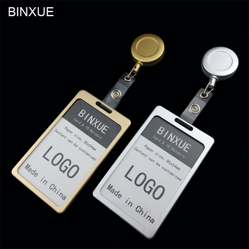 BINXUE Cover card Aluminum alloy material durable Employees card Card & ID Holders badge and lanyard hang tag Telescopic Badge