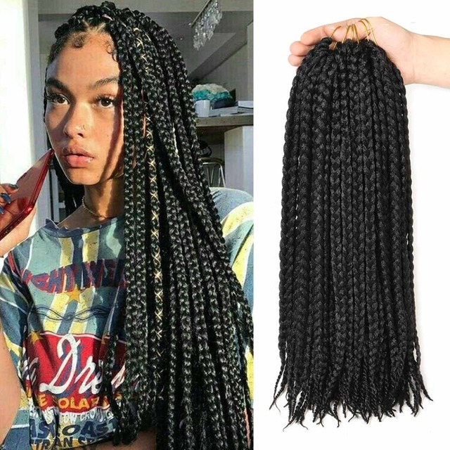 Box Braids Crochet Synthetic Braiding Hair 12 Roots Extensions Soft Dreadlocks Twist