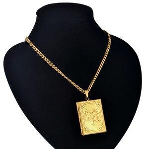 Image 3 - Pendentifs et pendentifs médaillon flottant bijoux islamiques, chaîne en acier inoxydable couleur or, Vintage arabes Allah