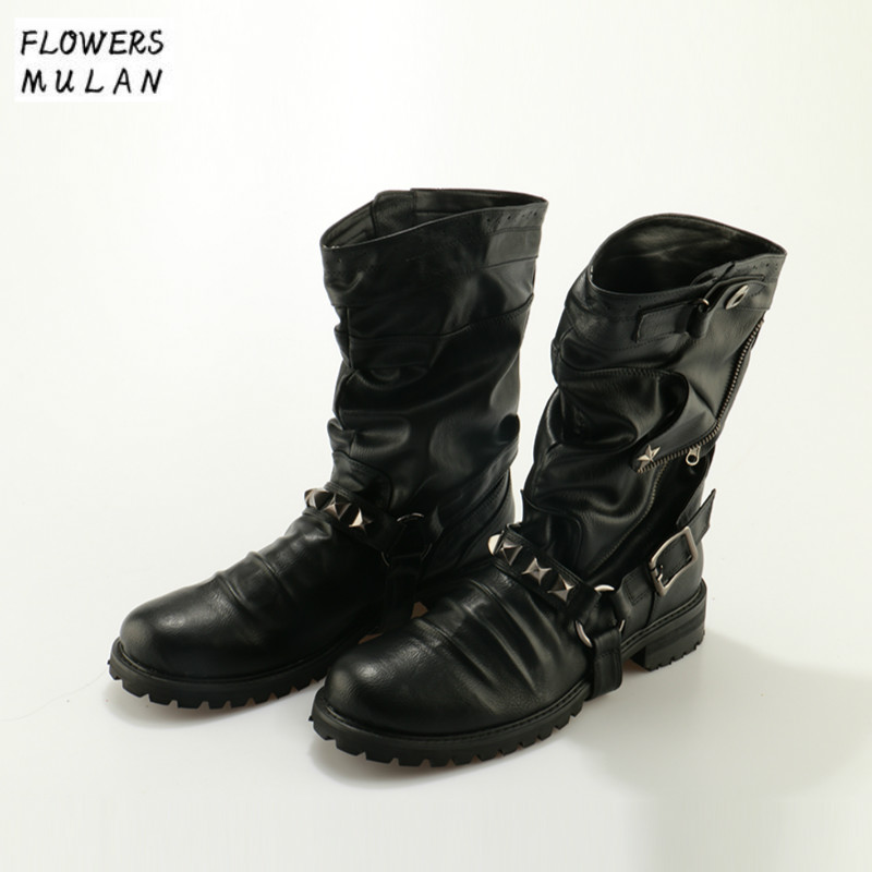 New England Style Retro Boots Punk Motorcycle Martin Boots Luxury Brand Genuine Leather Military Rivet Boots Men Casual Shoes women martin boots 2017 autumn winter punk style shoes female genuine leather rivet retro black buckle motorcycle ankle booties