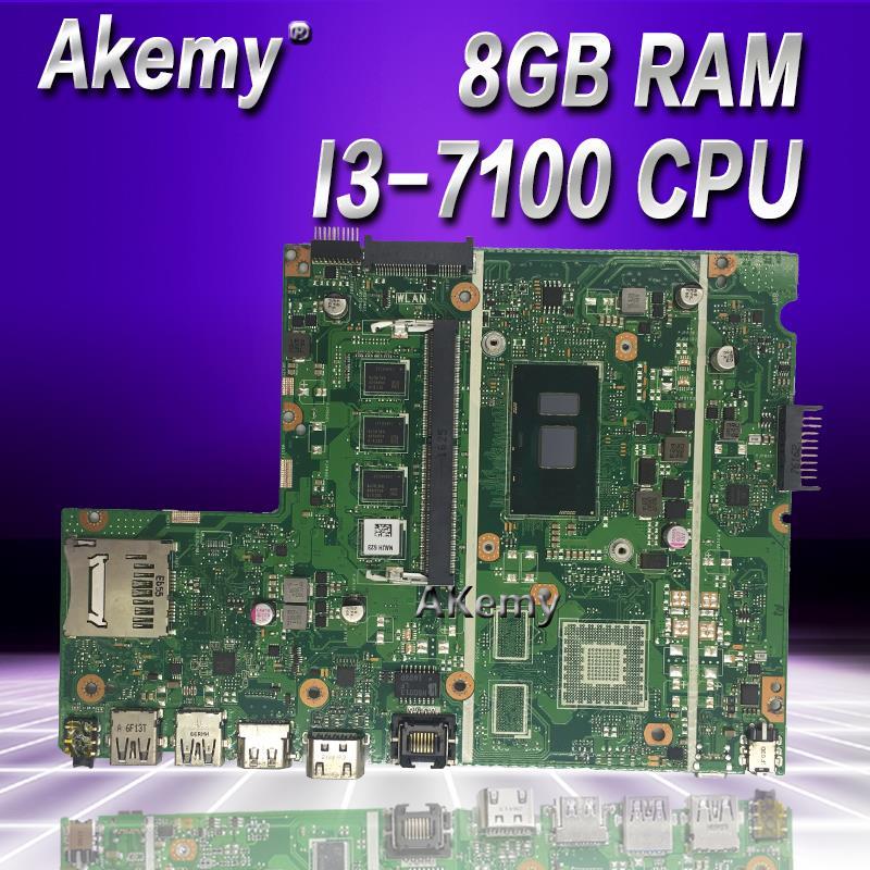 Akemy X541UA Laptop motherboard i3 7100U 8GB RAM for ASUS X541UVK X541UA X541UV Test mainboard X541UA