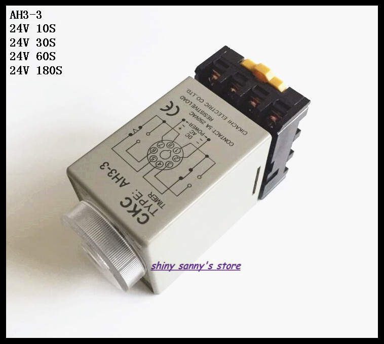 цена на 2 Sets/Lot AH3-3 DC24V 10S/30S/60S/180S Power On Delay Timer Time Relay 24VDC 8 Pins With PF083A Socket Base Brand New