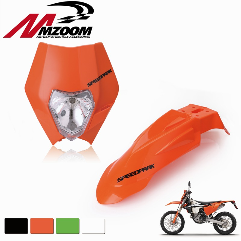 FREE SHIPPING Front Fenders+Motorcycle Dirt Bike Supermoto Universal Headlight Fairing For Honda Yamaha Suzuki KTM DRZ KX YZ