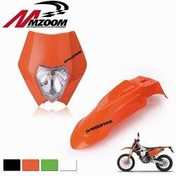 Frete grátis frente pára-choques + motocicleta da bicicleta sujeira supermoto universal farol carenagem para honda yamaha suzuki ktm drz kx yz