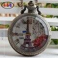 Envío libre nuevo estilo de Europa de cuarzo reloj de bolsillo de tapa de cristal blanca de lista romántica Torre Eiffel en París DS009