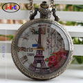 Free shipping new style Europe quartz pocket watch white glass flip list romantic Eiffel Tower in Paris DS009