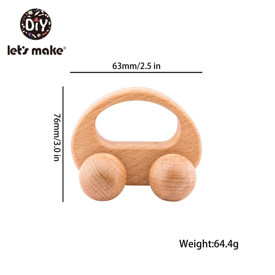 Let'S Make Wooden Rattle Beech Cute Car Model 1Pc Wood Car Non-Toxic Wooden Toy Bpa Free Teethers For Babies Baby Shower Gift