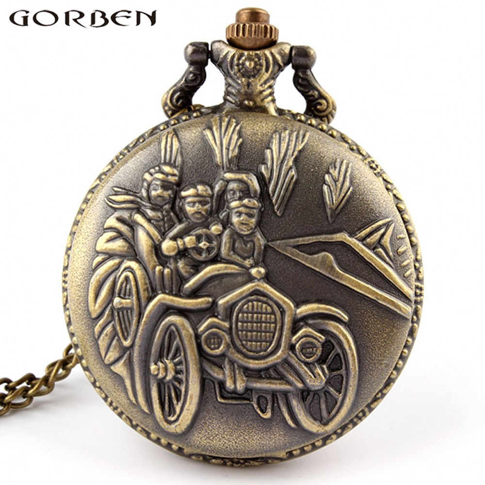 Gorben Watch Antique Three People Driving Family Car Pocket Watch With Long Necklace Quartz Watches Best Gifts For Children P85