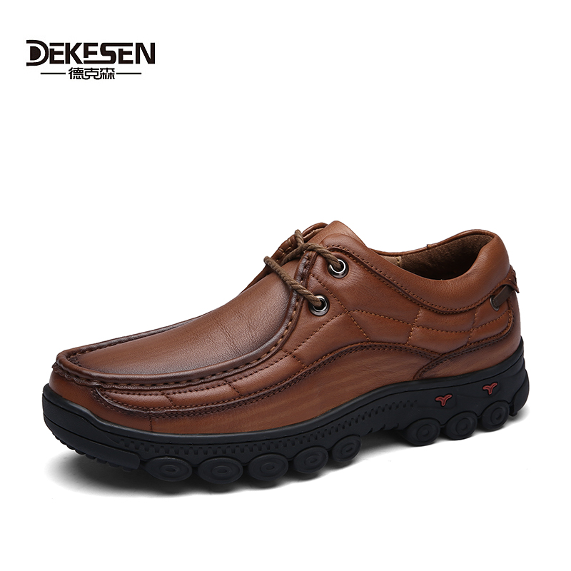 Dekesen 2017 Men Shoes Classic British 100% Genuine Leather Casual shoes patent black Walking shoes for Men flats Shoes male dekesen brand vintage classic 100