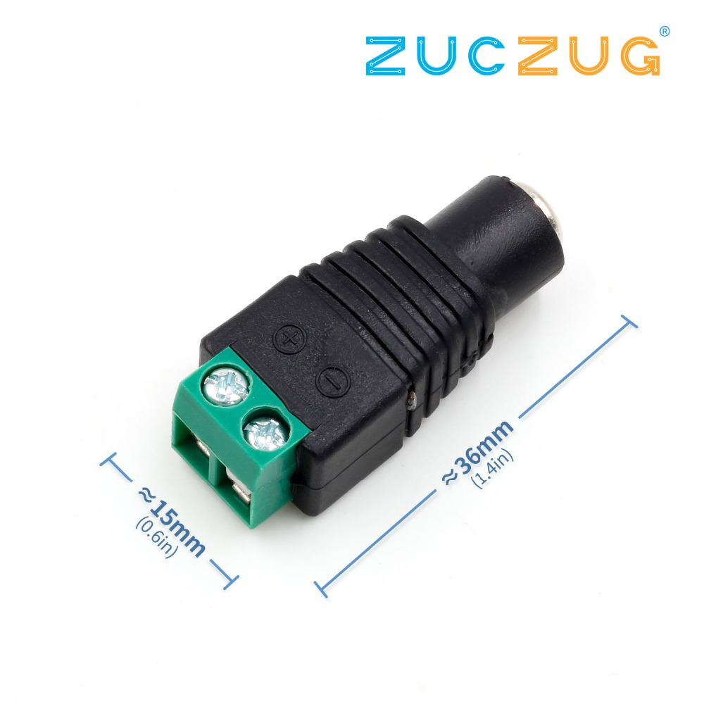 Female Male DC Power Jack Connector Crimp Terminal Block Plug Adapter For 2pin 5050 3528 Single Color LED Strip CCTV