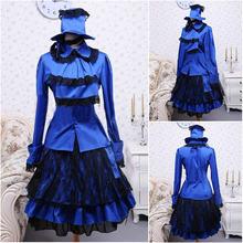 Blue satin Sweet Lolita Dress full-sleeves short Skirt Dress Halloween dress  Victorian dress School Uniform Dress V-971 8d6e32f87104