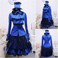 On sale!Blue satin Sweet Lolita Dress full sleeves short Skirt Dress Halloween dress Victorian dress School Uniform Dress V 971