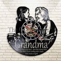 1Piece Personalized Gift for Grandmother Wall Clock Grandma Retro Vinyl Record Clock Mama Quotes Decorative Clock