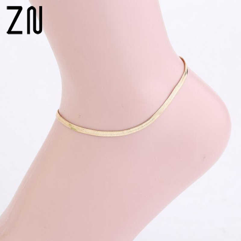 ZN Outdoor Woman Sexy Thin Ankle Chain Metal Scale / Upscale Beach Sandals Snake Bone Chain Foot Anklets