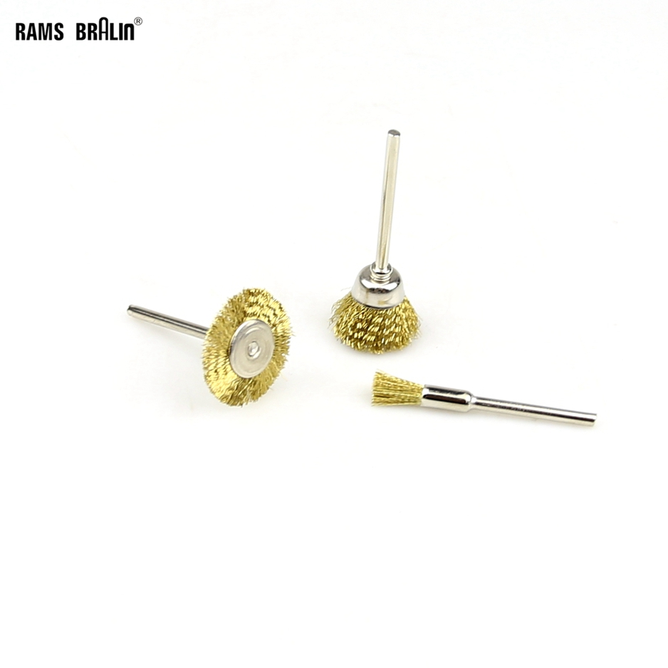 100 Pieces 3mm Shaft Copper Wire Wheel Brushes Drill Dremel Rotary Tool