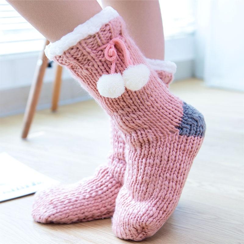 Zuzuwu 2 Pairs Women's SLipper Socks Sherpa Lined Thick Fleece Stock  Gripper Warm Winter Indoor|Socks| - AliExpress