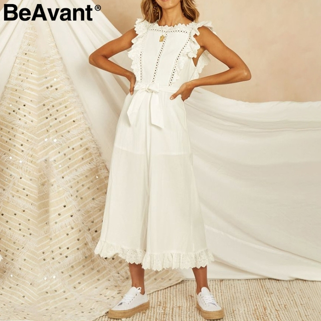 BeAvant Cotton linen white jumpsuit womens rompers Elegant summer female jumpsuit long Hollow out embroidery backless overalls