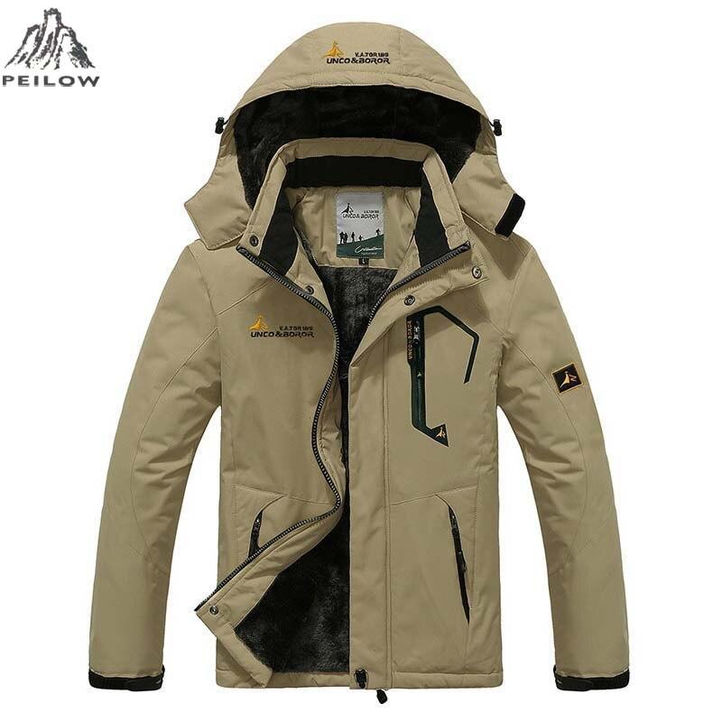 PEILOW Plus tamaño 5XL... 6XL prendas de abrigo de invierno de los hombres y las mujeres espesar impermeable de lana de algodón cálido parka abrigo chaqueta de los hombres