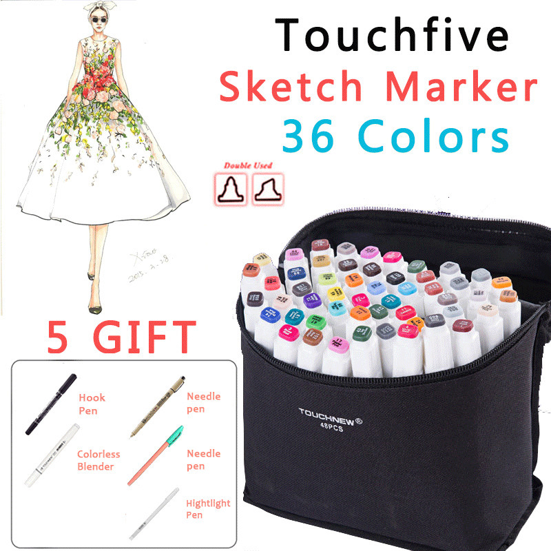 36 colors mark pen Animation manga Fashion Design Paint Sketch Markers Drawing soluble pen cartoon graffiti posca art marker Pen promotion touchfive 80 color art marker set fatty alcoholic dual headed artist sketch markers pen student standard