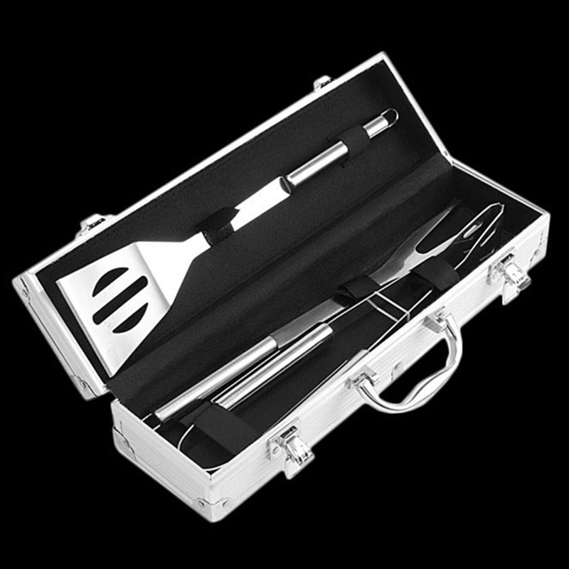 3 PCS BBQ Grill Tools Set Stainless Steel BBQ Spatula Fork Tong Outdoor Camping Barbecue Kit With Luxurious Aluminum Packaging