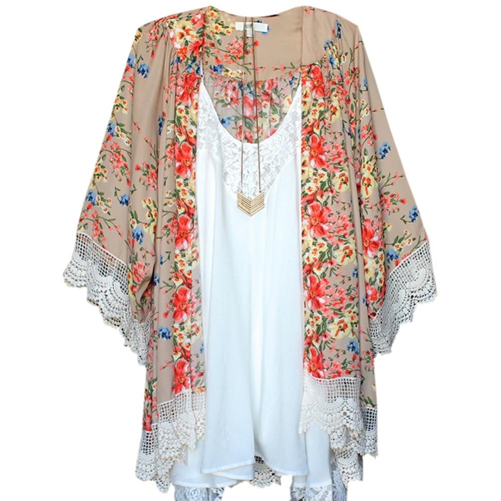 Women Vintage Floral Printed Loose Shawl Kimono Cardigan Boho ...