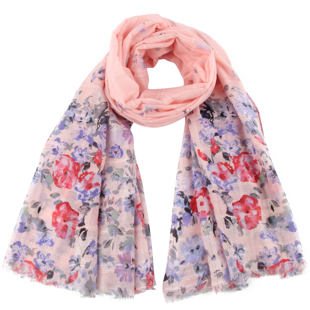 Winfox White Pink Green Floral Glitter Scarf Hijab Shawl Beach Foulard For Women Ladies in Women 39 s Scarves from Apparel Accessories