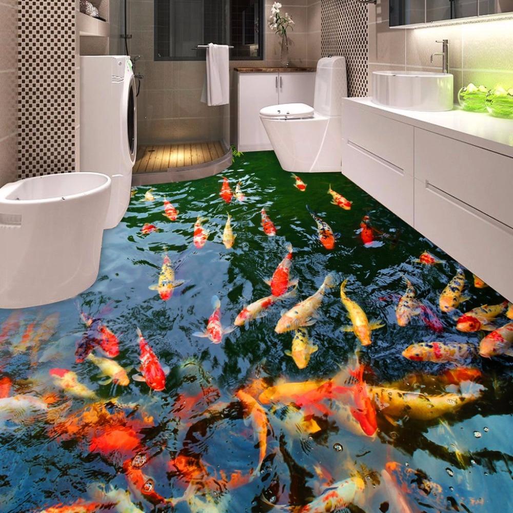 High Quality Custom 3D Floor Wallpaper Pond Carp Toilets Bathroom Bedroom PVC Floor Sticker Painting Mural Wallpaper Waterproof