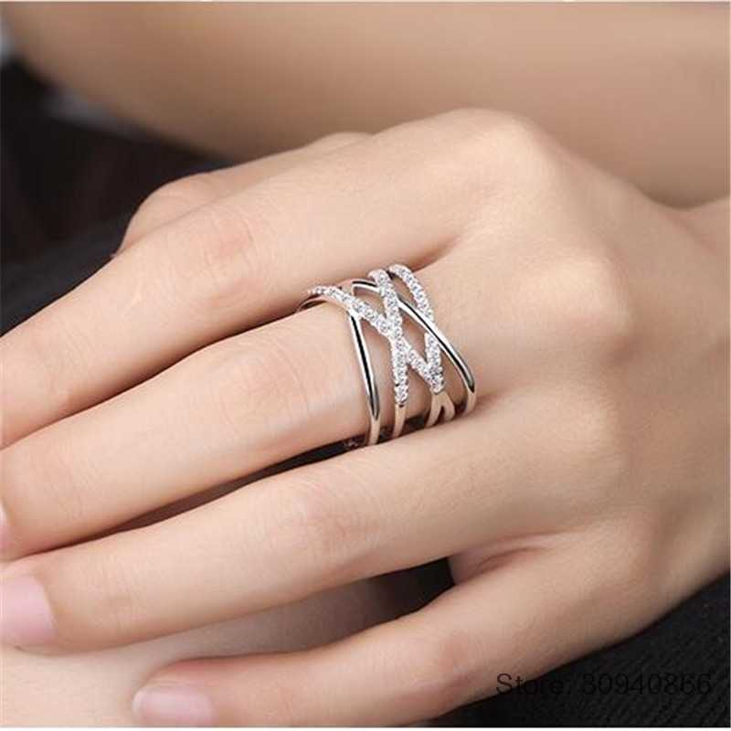 Korean Style 925 Sterling Silver Opening Rings Multi-layer Line Cross Mosaic Zirconia Rings For Women Jewelry S-R243