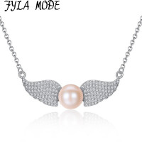 New Elegant Fashion Luxury 925 Silver Angel Wing Shape Pendant Freshwater Pearl Necklace Jewelry For Women
