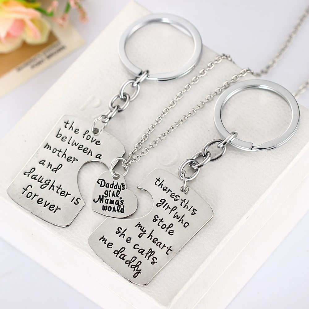 Nice Dad And Daughter Gifts Part - 6: 3pcs Mother Father Daughter Sister Silver Pendant Necklace Family Gifts Dad  Mom Motheru0027s Fatheru0027s Day Men Women Jewelry Charm-in Pendant Necklaces From  ...