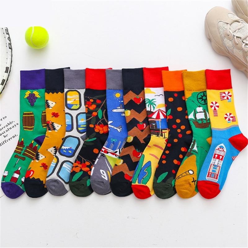0550e10674437 Delicious 1 Pair Male Cotton Socks Colorful Striped Jacquard Art Socks  Multi Pattern Long Happy Funny Skateboard Socks Mens Dress Sock Street  Price ...