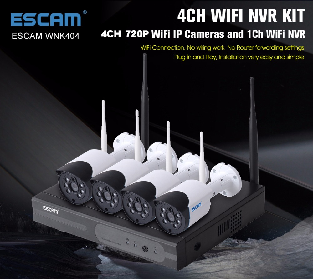 ESCAM 4CH Wireless 720P WIFI IP Camera NVR Kit APP Remote Control