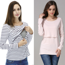 Long Sleeve Maternity Clothing Cotton Breastfeeding Shirt La