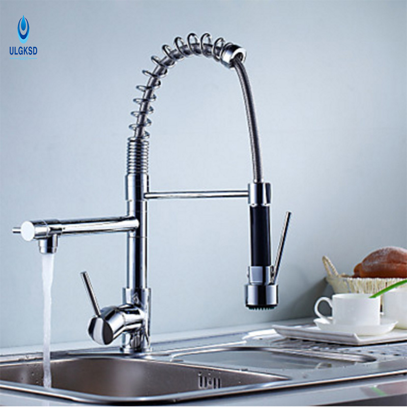 Ulgksd Single Handle Double Spout Kitchen Faucet Deck Mount Brass Kitchen Tap Sink Faucet With Mixer Water Taps