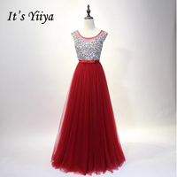 It S YiiYa Popular 3 Colors Sleeveless O Neck Prom Dresses Tulle Evening Party Shining Bow