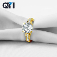 QYI 14K Solid Yellow Gold Women Jewelry Rings Oval Cut Sona Simulated Diamond Engagement Wedding Band Ring Free Shipping