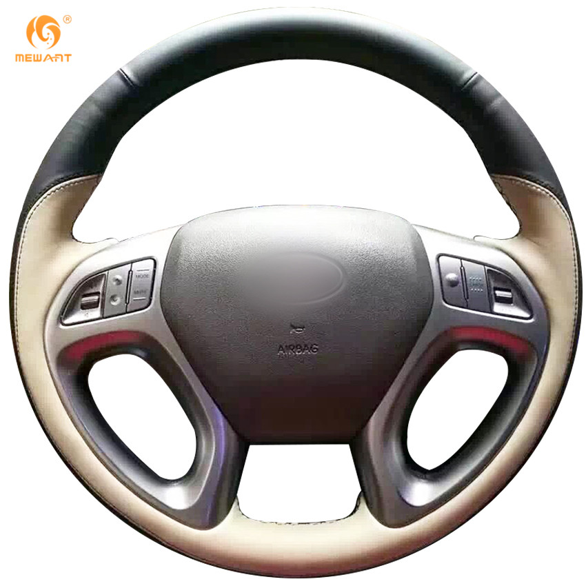 MEWANT Black Leather Beige Leathe Car Steering Wheel Cover for Hyundai ix35 Tucson 2 2011-2015